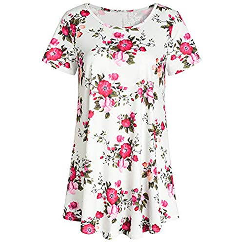 - Dressin Women's T Shirt Ladies Women Crew Neck Short Sleeve Printed Flared Flowy Loose Blouse Tunic Tops Tees White