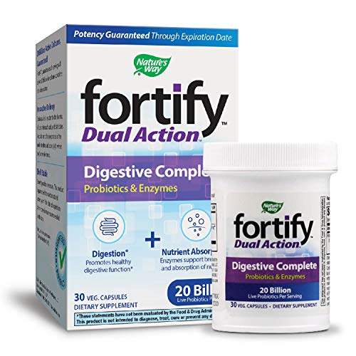Nature's Way Fortify Dual Action Digestive Complete Probiotic Vegetarian Capsules, 30 Count