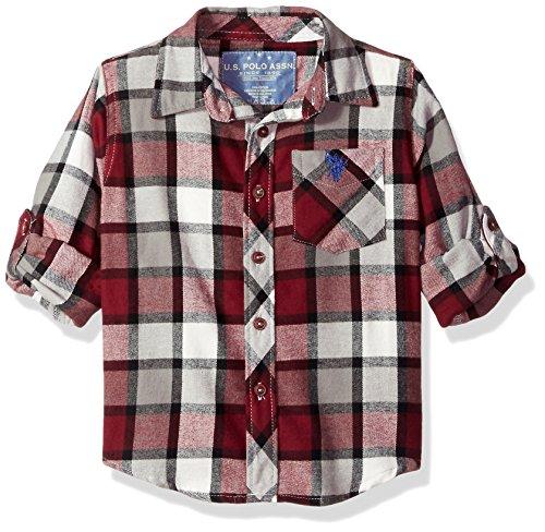 U.S. Polo Assn. Boys' Little Long Sleeve Plaid Flannel Shirt, Seagrams Burgund HD41, 4