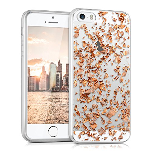 kwmobile-crystal-tpu-silicone-case-for-apple-iphone-se-5-5s-in-pink-gold-transparent-design-flakes