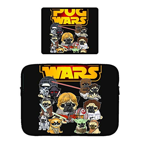 Beach Surfers Pug Wars Laptop & MacBook Zipper Sleeve Bag & Mouse Pad Computer Sleeve Cover for 15 Inch
