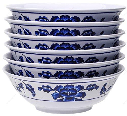 (Melamine Oriental Pho Noodle Soup Bowl, 36 Ounce, Lotus Design, Set of 6)