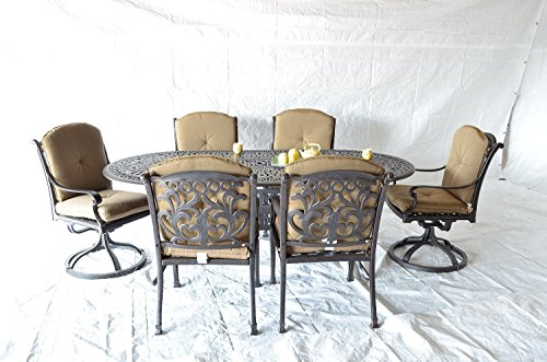 Mandalay Cast Aluminum Powder Coated 7pc Outdoor Patio Dining Set 42x72 Oval Table - Antique Bronze