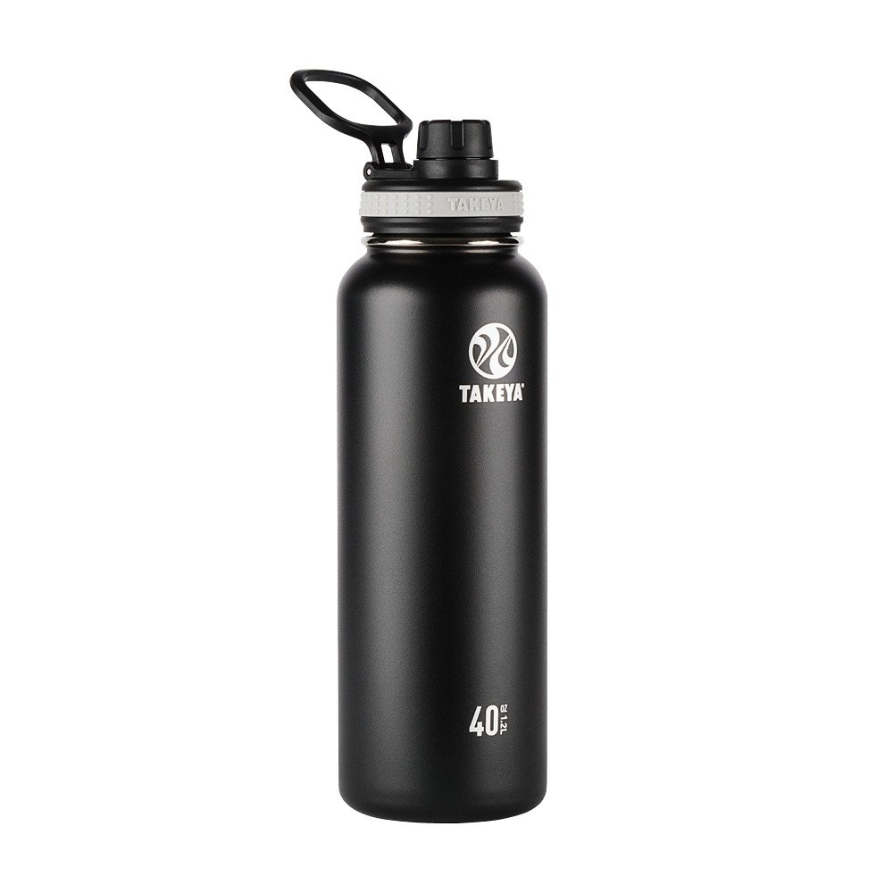 Takeya Originals Vacuum-Insulated Stainless-Steel Water Bottle, 40oz, Black