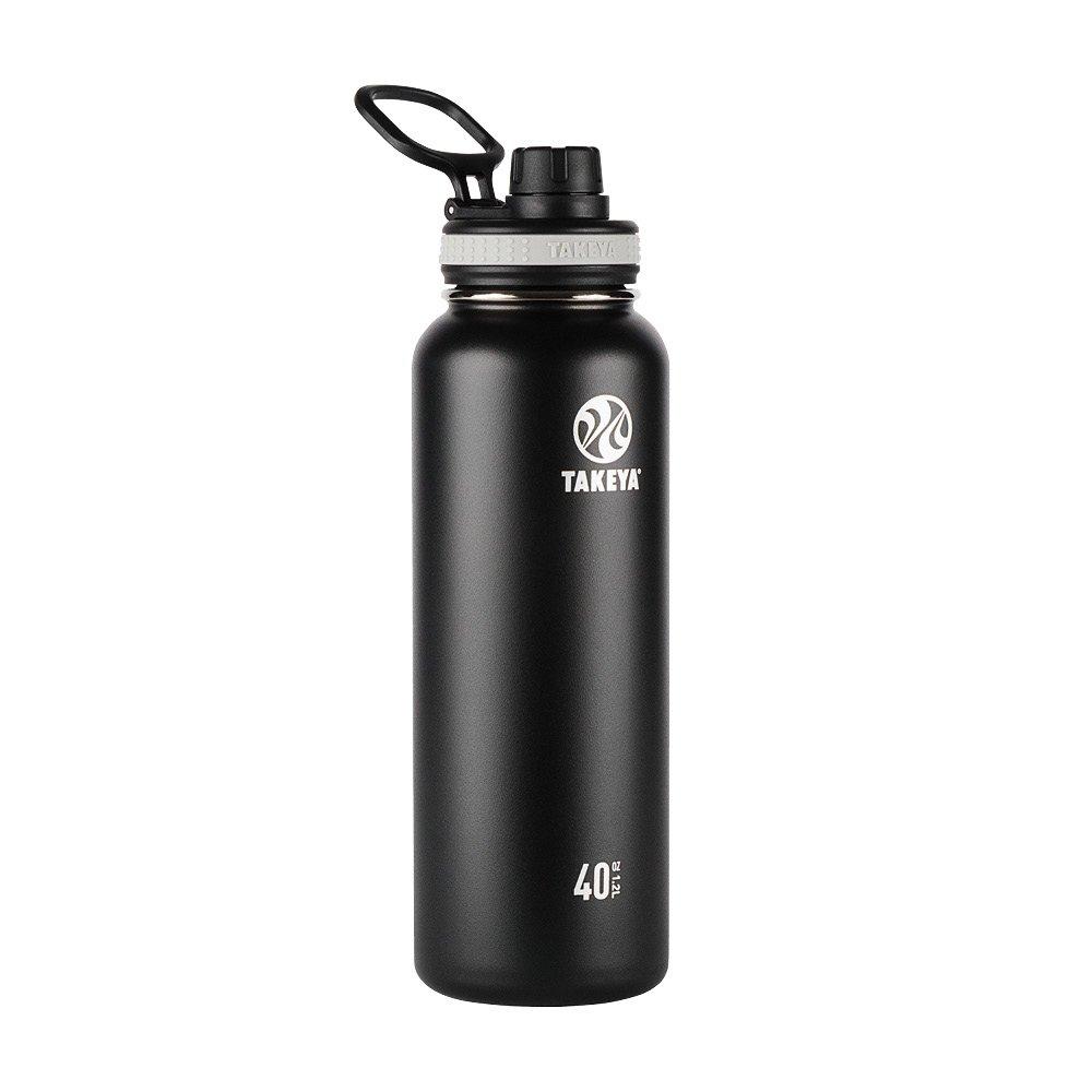 Takeya Originals Vacuum-Insulated Stainless-Steel Water Bottle, 40oz, Black
