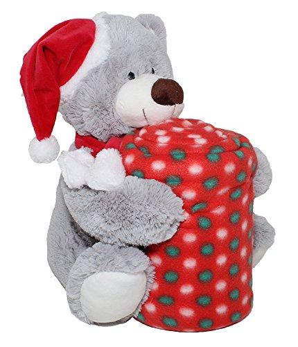 SILVER ONE Festive Holiday Christmas Sherpa Plush Stuffed Animal and Throw Blanket 2 Peice Gift Set for Kids/Children | 50
