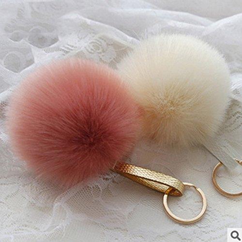 Manual Cute Genuine Rabbit Fur Ball Pom Pom Keychain ,Bag Car decoration,Ball Pom Key chain for Car Key Ring & Handbags & Tote Bags ,Pendant Charm (Bean paste Red)