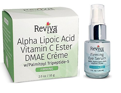 Reviva Labs Alpha Lipoic Acid DMAE Cream and Firming Eye Serum Bundle with Vitamin C, Aloe Leaf Juice and Olive Oil, 2.0 fl. oz. and 1 fl. oz. each