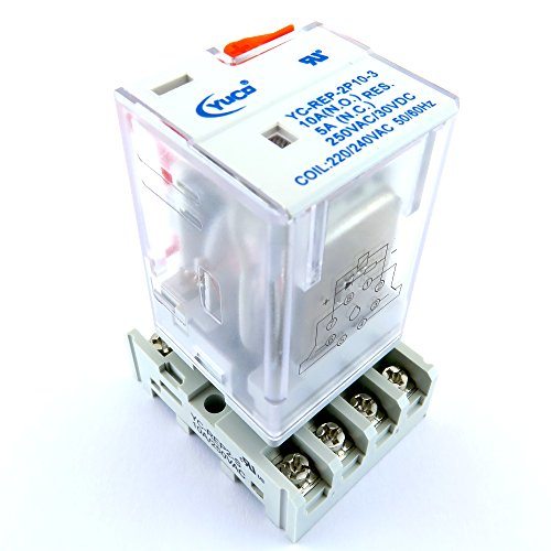 YC-REP-2P10-3 & YC-REP2-S ICE CUBE GENERAL PURPOSE RELAY OCTAL BASE 8 PIN 2 PDT 10AMP 220/240VAC 50/60HZ AC-COIL