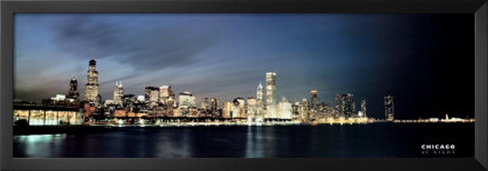 Professionally Framed Chicago At Dusk Skyline Art Print Poster 12x36 With Richandframous Black Wood Frame