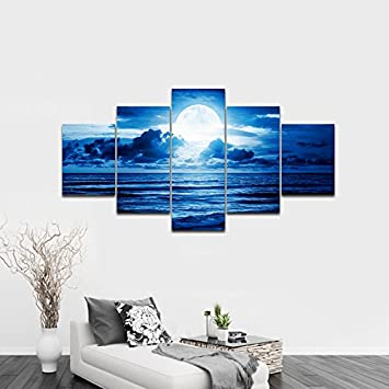 Pyradecor Blue Clouds Modern 5 Panels Moon Sea Beach Canvas Wall Art Large Gallery Wrapped Landscape Giclee Canvas Prints Pictures Artwork Paintings for Living Room Bedroom Home Decorations L
