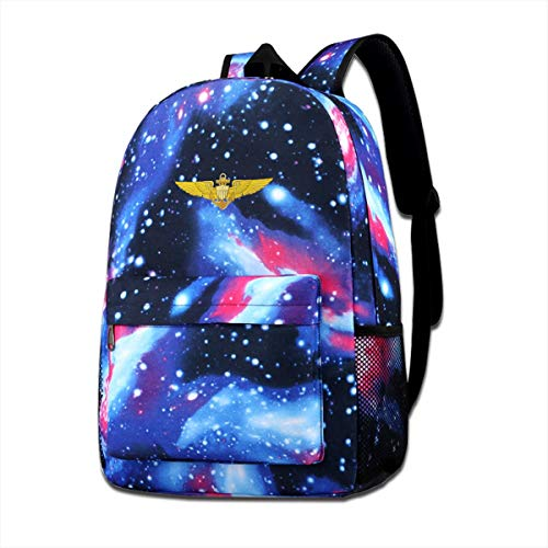 Coollifea School Bag US Navy Pilot Wings Starry Sky Book Bag Quality Big Galaxy -