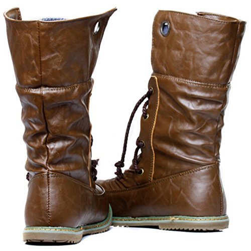 Ankle Cowboy Western Retro Boots TAOFFEN Brown Boots Lacing Flat Women Boots x8qaxnBSwg