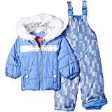 London Fog Baby Girls Snowsuit with Snowbib and Puffer Jacket, Lavender Blue Periwinkle, 18MO