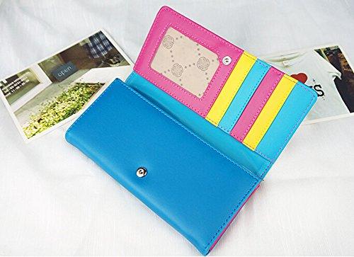 Eleganter PU-lange Mappen-Geldbeutel -Kupplungs-Mappen-Kartenhalter (blau)