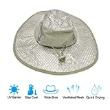 Yingyi Sunscreen Cooling Hat Protection Cooling Cap Wide Brim Summer Sun Hat with Anti UV Feature for Men Women Hot Weather Gardening Yard Beach Outdoor Planing Hiking Fishing Camping
