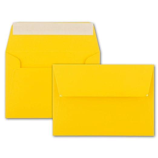 hochwertige Einladungs-Umschl/äge 12,5 x 17,5 cm 25x Brief-Umschl/äge B6 breite edle Verschluss-Lasche Haftklebung 120 g//m/² Honiggelb