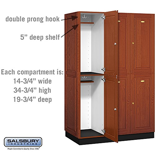 Salsbury Industries 2-Tier Solid Oak Executive Wood Locker with Three Wide Storage Units, 6-Feet High by 21-Inch Deep, Medium Oak by Salsbury Industries (Image #3)