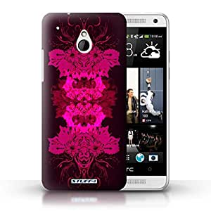 KOBALT? Protective Hard Back Phone Case / Cover for HTC One/1 Mini | Red Floral Design | Symmetry Pattern Collection