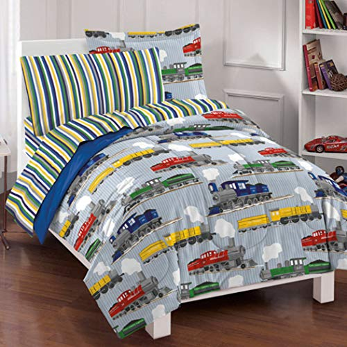 5 Piece Multi Color Train Themed Comforter Set with Sheets Twin, Fun Mini Trams Railroad Locomotive Engine Pattern Red Blue Green Yellow Vehicles, Reversible Rugby Striped Kids Bedding, Polyester