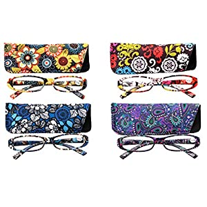 SOOLALA 4-Pair Designer Fashionable Spring Hinge Rectangular Reading Glasses w/ Matching Pouch, 4pcs, +2.5