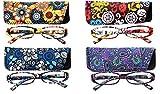 SOOLALA 4-Pair Designer Fashionable Spring Hinge Rectangular Reading Glasses w/Matching Pouch, 4pcs, 1.5