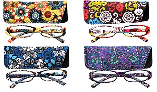 SOOLALA 4-Pair Fashionable Spring Hinge Rectangular Reading Glasses w/ Matching Pouch