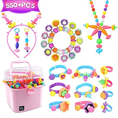 HAIMST Pop Beads Girl Toy 550+ Pieces Girls Jewelry Making Kit for Toddlers Pop Snap Beads to Make Necklace,Bracelet,Hairbands,Toddler Crafts Toys for 3,4,5,6,7,8 Year Old Kids Girls: Arts, Crafts & Sewing