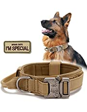 Tactical Dog Collar, Military Nylon Dog Collar Thick with Handle Dog Collars Adjustable Heavy Duty Metal Buckle for Dog Training.
