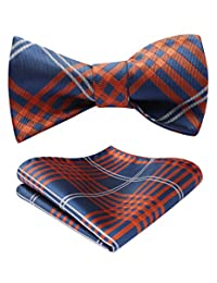 HISDERN Men's Check Bowtie Formal Tuxedo Self-Tie Bow Tie and Pocket Square Set