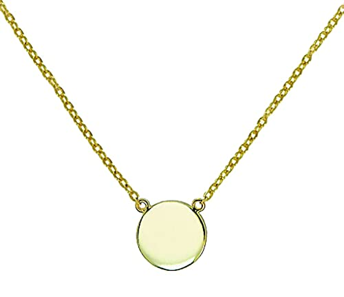 Amazon simple disk round pendant necklace 925 sterling silver simple disk round pendant necklace 925 sterling silver gold tone finish 16quot 18quot aloadofball Images