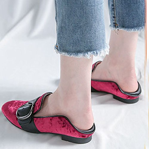 Giy Kvinna Klassiska Spänne Öre Loafers Lägenheter Fyrkantig Tå Slip-on Klänning Tillfällig Loafer Oxford Glitter Sko Röd