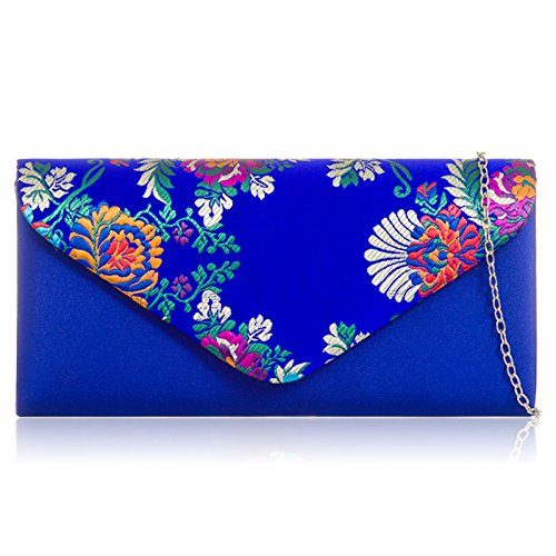 Envelope London With Women Evening Blue Wedding Bridal Party Clutch Bag Chain Handheld Shaped Satin Long Royal Embroidered Strap Xardi Floral 80n6q8d