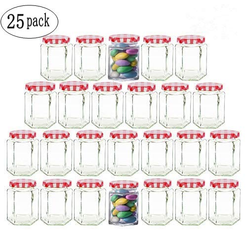 Clear Hexagon Jars 4oz With Lids Red Striped,Glass Jars For Spice,Foods,Jams,Liquid,Mason Jars For Storage 25 Pack