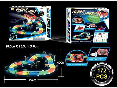 TBEA Magic Track Race Track 172Piece Dark Racer Bend Flex Roll Glow with Truck and Car Set
