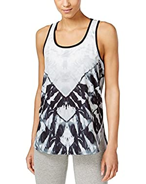 Calvin Klein Womens Scoop Neck Printed Tank Cami Black XS