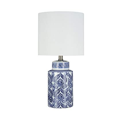 Ravenna Home Global Ceramic Table Lamp With Led Light Bulb 20 H Blue And White Stylized Feather Design