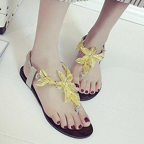 Rcool Lady Summer Einfache Wilden Sandalen und Pantoffeln Gold