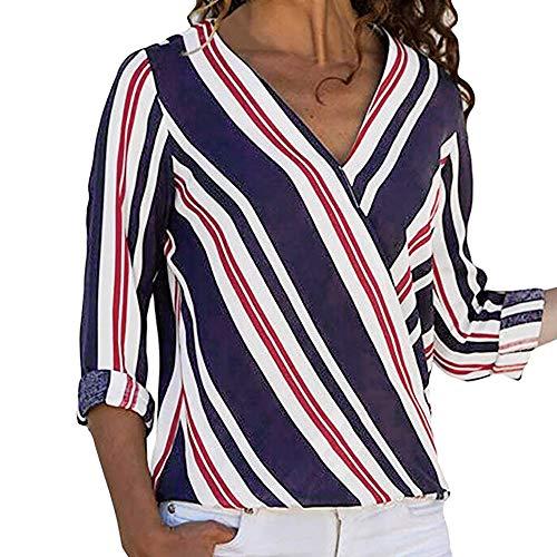 Women Ladies Fashion Long Sleeve V Neck Shirts Multicolor Striped Irregular Casual Blouse Tops T Shirt ()