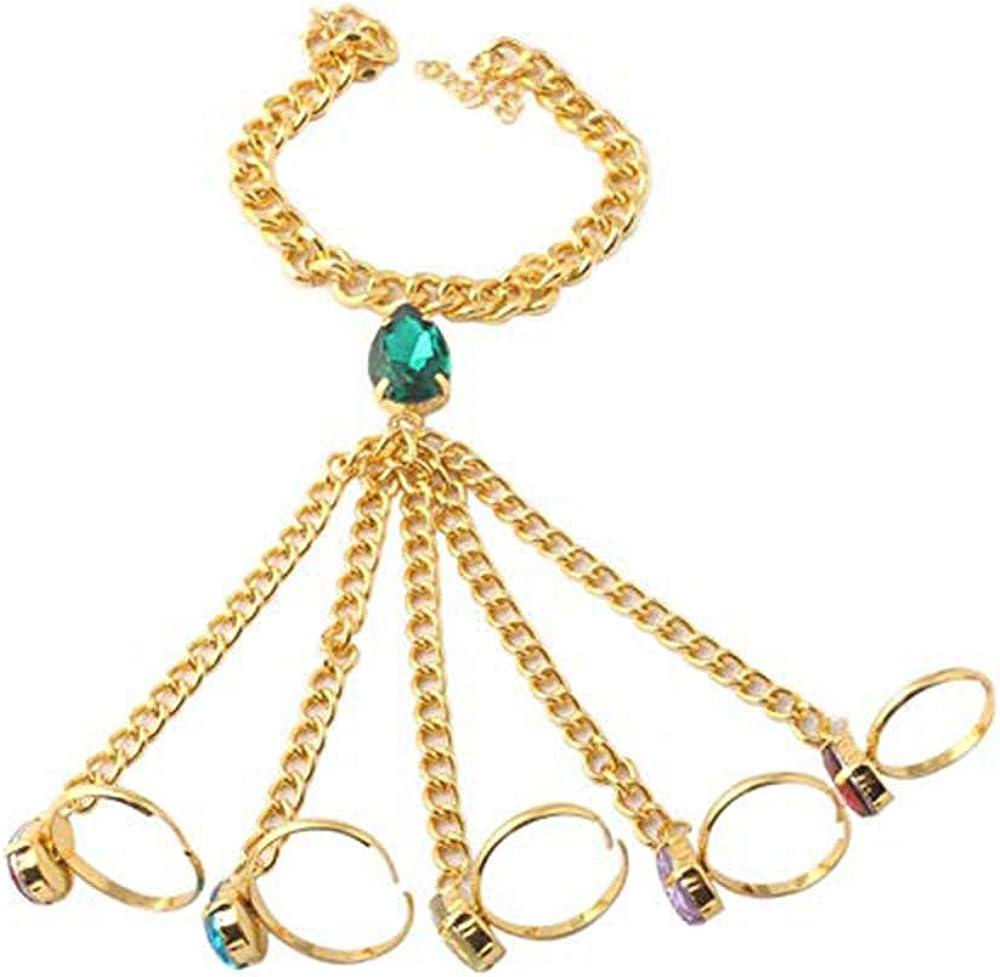 Blingsoul Gold Hand Harness Bracelet - Colorful Gemstone Gauntlet Finger Jewelry for Women