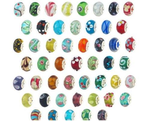 BeautyLife 50Pcs Silber Glasperlen Muranoglas Murano Glasperlen Pandora Stil Charm Armbänder angepasst
