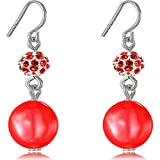 Drop Dangle Earrings Zircon Fish Hoop Simulated Pearl Fireball 8MM Color Red