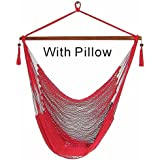 Hammock Chair Hanging Rope Chair Porch Swing Outdoor Chairs Lounge Camp Seat At Patio Lawn Garden Backyard-300lbs Weight Capacity-(Mocha Red)