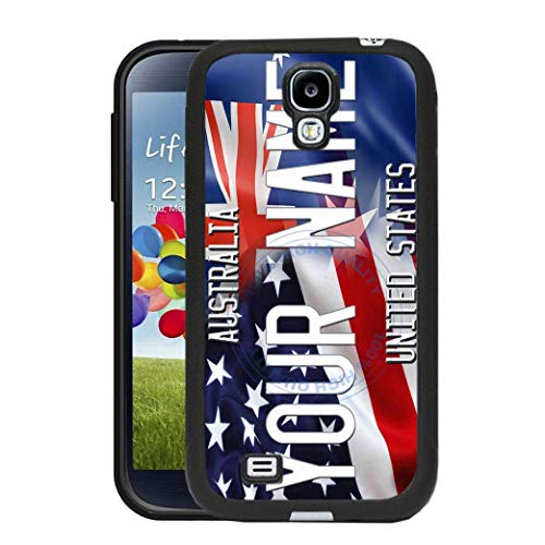(BRGiftShop Personalize Your Own Mixed USA and Australia Flag Rubber Phone Case For Samsung Galaxy S4)