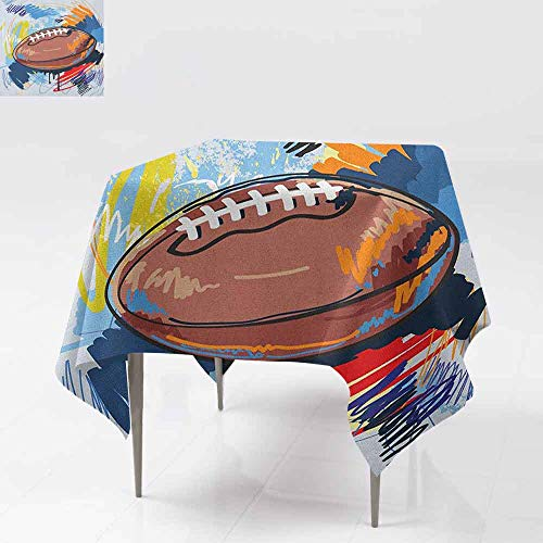 AndyTours Waterproof Table Cover,Sports,Diamond Shape Rugby Ball Sketch with Colorful Doodles Professional Equipment League,Party Decorations Table Cover Cloth,50x50 Inch Multicolor
