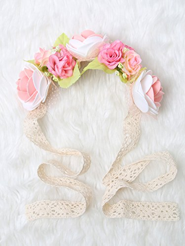 [Festival Boho Hippy Hair Head Band/ Rose Crown/Bohemian style (Pink in Bloom)] (Gold Antler Crown)