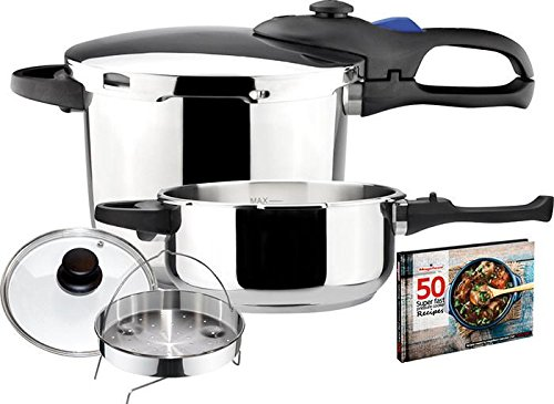 - Magefesa Favorit 4 6 Qt. Stainless Steel Pressure Cooker Set with Steamer and Recipe Book
