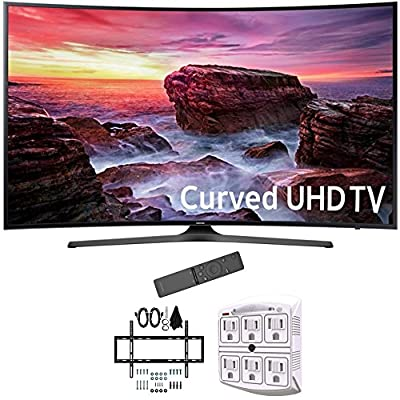 "Samsung 49"" Curved 4K Ultra HD Smart LED TV 2017 Model (UN49MU6500FXZA) with Deco Mount Slim Flat Wall Mount Ultimate Bundle Kit for 32-60 inch TVs & Stanley 6-Outlet Surge Adapter with Night Light"