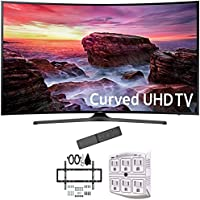 Samsung 49 Curved 4K Ultra HD Smart LED TV 2017 Model (UN49MU6500FXZA) with Deco Mount Slim Flat Wall Mount Ultimate Bundle Kit for 32-60 inch TVs & Stanley 6-Outlet Surge Adapter with Night Light