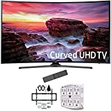 Samsung 49' Curved 4K Ultra HD Smart LED TV 2017 Model (UN49MU6500FXZA) with Deco Mount Slim Flat Wall Mount Ultimate Bundle Kit for 32-60 inch TVs & Stanley 6-Outlet Surge Adapter with Night Light